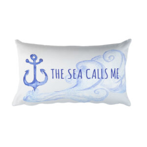 Wooden Nine The Sea calls me pillow home decor anchor sea waves accent