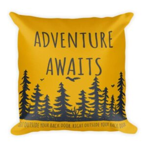 Adventure awaits outside your back door pillow bright orange yellow