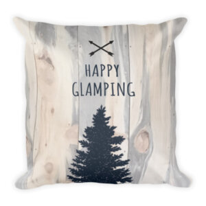 Wooden9 Happy Glamiping Pillow to take camping in your rv